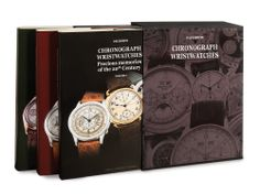 3 volumes cm 25 x 32 each in an elegant slipcase total: 962 pages  english and italian texts author: Paul White These three volumes represent the most complete work on chronograph wristwatches.  http://www.collectingwatches.com/en/our-editions/product/view/4-books-about-patek-philippe/37-chronograph-wristwatches.html