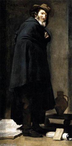'Menippus', öl auf leinwand von Diego Velazquez (1599-1660, Spain)