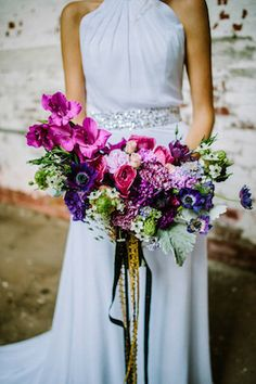 Jewel toned bridal bouquet | Hello Miss Lovely | see more on: http://burnettsboards.com/2015/12/urban-glam-industrial-wedding/