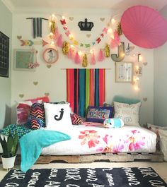 Boho Chic Tween Girls bedroom with pallet bed Styled by Blissfully Eclectic