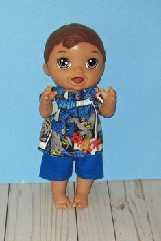 Baby a Live Baby Alive Doll Clothes, Boy Doll Clothes, Baby Alive Dolls, All The Way Down, Blue Shorts, Toddler Outfits, Lily, Disney Princess, Boys