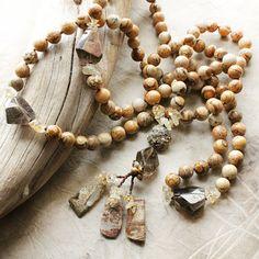 Image of Picture Jasper mala beads with Citrine, Smokey Quartz, Pyrite & Silver Leaf Jasper
