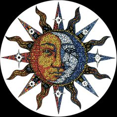 Celestial Mosaic Sun/Moon window decal by Psicodelico on Etsy