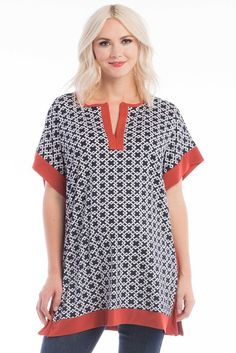 Caftan Top in Navy Geo (Print) is perfect for pregnant women, nursing women, and women.