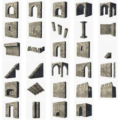 Castle Building Set Fantasy 3D Blend - 3D Model