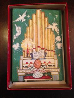 11 Vintage Box Christmas Cards Angel Child Playing Organ Embossed Gold