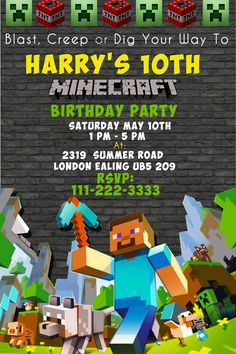 Minecraft BIRTHDAY Invitation Printable By BumblesDesign Birthday Invitations Party