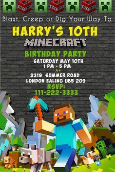 Minecraft Invitation Templates Birthday Buzzin And Lots Of Great