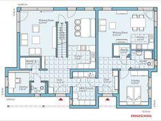 Grundriss EG Duo 211 #Mehrgenerationenhaus von Hanse Haus GmbH & Co. KG. Die eingebundene Einliegerwohnung eignet sich perfekt z.B. für die Großeltern, die damit im Familienleben eingebunden sind und andererseits gleichermaßen selbstständig und unabhängig wohnen.
