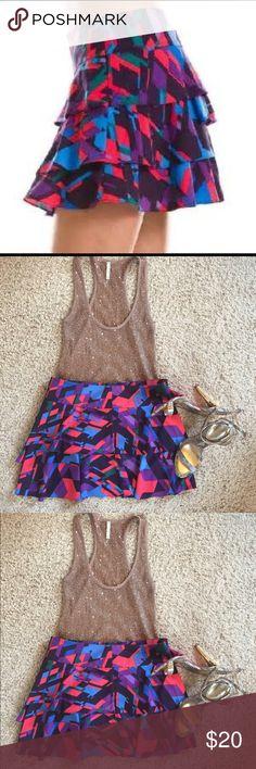 "A/X Armani Exchange Tiered Geometric Print Skirt 4 NWOT A/X Armani Exchange Tiered Geometric print mini skirt size 4.  Retails $62.00.  Measurements:  waist: 15 1/2"" Length: 14"". A/X Armani Exchange Skirts Mini"