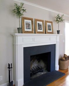 Hottest Pics white Fireplace Mantels Style Interior White And Black Designs Painted Fireplace Black Fireplace Surround, Wood Fireplace Surrounds, Grey Fireplace, Brick Fireplace Makeover, Fireplace Remodel, Fireplace Ideas, Stone Fireplaces, Painted Fire Surround, White Fire Surround