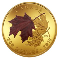 Pure Gold Coloured Set – Alluring Maple Leaves of Fall – Mintage: 300 Canadian Gold Coins, Maple Leaf, Coin Design, Coin Art, Mint Coins, Gold And Silver Coins, Gold Tips, Gold Bullion, World Coins