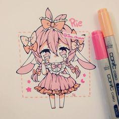 This reminds me of Kawaii~Chan. Anime Chibi, Draw Chibi, Kawaii Anime, Arte Do Kawaii, Kawaii Chibi, Cute Chibi, Kawaii Art, Marker Kunst, Copic Marker Art