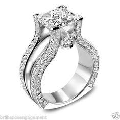 3 CT PRINCESS CUT ROYAL DIAMOND ENGAGEMENT RING EGL USA 18K