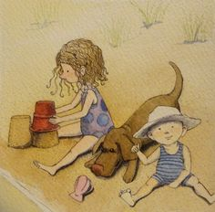 children on the beach by theinkproject