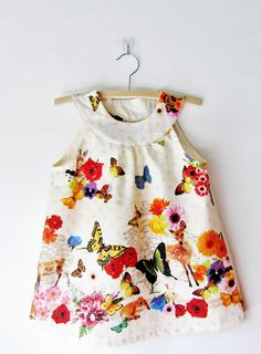 Girls clothing Butterfly Dress Top, Children Girls Toddler Summer dress top, Woodland Flower girls, Bunny Deer Cats Doily, Gift for girls by Dabishoo on Etsy https://www.etsy.com/listing/213222447/girls-clothing-butterfly-dress-top