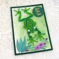*QUILLING ~ Greeting Card Paper Quilled  FROG Green Handmade by Enchanted Quilling on Etsy