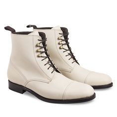 Handmade Men,s White Ankle Boots, Men,s Lace up Ankle Boot, Men Leather Boot - Boots