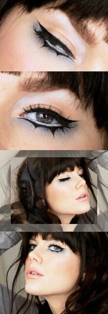 Perfect eye makeup for an evil queen, sorceress, or pretty much any dark villain costume - Linda Hallberg Eyeliner styles goth aesthetic Bat Makeup, Halloween Eye Makeup, Halloween Eyes, Makeup Art, Makeup Inspo, Makeup Inspiration, Makeup Tips, Makeup Products, Linda Hallberg