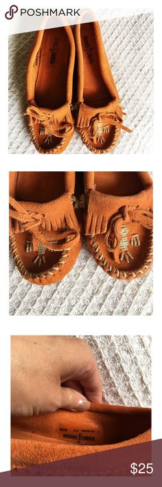 Minnetonka Orange Beaded Moccasins Leather Minnetonka Moccasins.  Beautiful beading on the toes.  Has some wear but no stains or tears. Minnetonka Shoes Moccasins