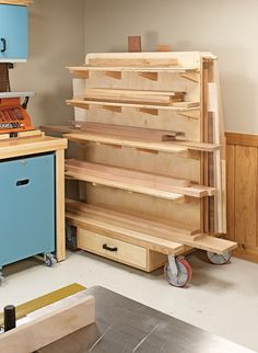 Shop space is always at a premium. But this versatile cart earns its place by providing storage and serving as a project staging center. Woodworking Blueprints, Woodworking Tools For Sale, Woodworking Bench Plans, Woodworking Logo, Woodworking Workshop, Woodworking Projects Diy, Youtube Woodworking, Woodworking Classes, Woodworking Videos