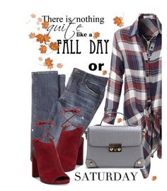 """""""Happy Saturday!"""" by juliehooper ❤ liked on Polyvore featuring LE3NO, Kenneth Cole, Lowie, Fall, jeans, polyvoreeditorial and checkerpattern"""