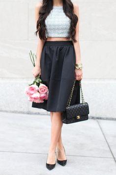 Crop top + midi skirt.