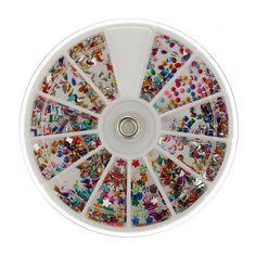 3 mm de diamantes de imitación brillo decoración del arte del clavo con rueda redonda