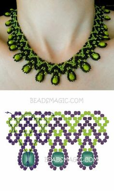 Free pattern for necklace Daniela seed beads 11/0 faceted beads 6 – 8 mm