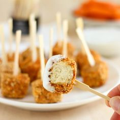 Baked Buffalo Tofu Bites- chicken or tofu? The delicious spicy cornmeal coating makes it really hard to tell!