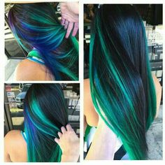 Blue green streak dyed hair color idea inspiration Brittnie Garcia - İnteresting Hair İdeas Here Blue Green Hair, Hair Color Purple, Cool Hair Color, Peacock Hair Color, Blue Hair Streaks, Purple Ombre, Look Girl, Hair Color Highlights, Green Hair