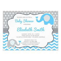 Elephant Baby Shower Invitation, EDITABLE COLOR Card With completely editable text and an editable accent color, this sweet elephant-themed baby shower invitation is perfect for any shower. (gray text is editable, gray design elements are non-editable) Baby Shower Supplies, Baby Shower Fun, Baby Shower Parties, Baby Shower Themes, Shower Ideas, Fun Baby, Custom Baby Shower Invitations, Baby Shower Invitation Cards, Party Invitations