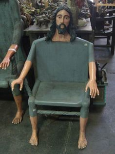 Okay we know Jesus did carpentry.but this creepy! However It would be neat to see chairs of the Apostles with the Jesus chair behind a long table! Jesus Meme, Jesus Funny, Stupid Funny Memes, Haha Funny, Hilarious, Reaction Pictures, Funny Pictures, Funny Pics, Cursed Images