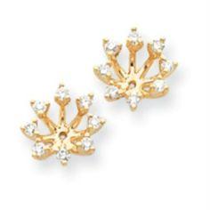 14k Yellow Gold Aa Diamond Earring Jacket Real Goldia Designer Perfect Jewelry Gift 666 78