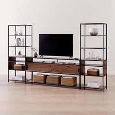 Sale ends soon. Shop Knox Black Industrial Media Console with 2 Tall Open Bookcases. The Knox Black Industrial Media Console with 2 Tall Open Bookcases is a Crate and Barrel exclusive. Tall Narrow Bookcase, Open Bookcase, Bookcase Storage, Bookcases, Media Storage, Book Shelves, California Pizza Kitchen, New Furniture, Custom Furniture