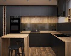 Dark kitchen, wood materials, units to the ceiling Kitchen Modular, Loft Kitchen, Kitchen Room Design, Kitchen Cabinet Design, Modern Kitchen Design, Home Decor Kitchen, Kitchen Living, Interior Design Kitchen, Kitchen Furniture