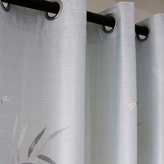 Gray Bamboo Print Window Curtains Living Room Drapes for Sale – Anady Top Leaf Curtains, Dining Room Curtains, Living Room Drapes, Curtain Room, Kids Curtains, Modern Curtains, Grommet Curtains, Curtain Fabric, Sliding Curtains