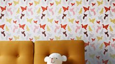 Origami wallpaper — Dottir & SonurWant a wall done with this. Very creative way for 1000 paper cranes!!!!!!! :)