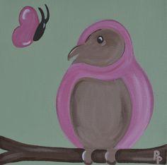 Kinderkamerkunst.Handgemaakt kinderschilderij Vogel.20x20 cm. Achtergrondkleur: Licht olijf-groen. Doek: canvas. Prijs: 20 euro. Gemaakt door: www.byphilomena.nl