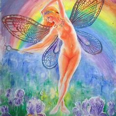'Iris, the goddes of the rainbow' by Corina Chirila Greek Mythology, Iris, Classic T Shirts, Rainbow, Paintings, Reading, Books, Rain Bow, Rainbows