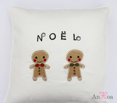 Christmas pillow covers. Gingerbread men embroidered. Fun holiday pillows. Christmas decorative throw pillows. Handmade cushion cover