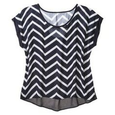 Women's Plus-Size Short-Sleeve Chevron Top - Moonlight