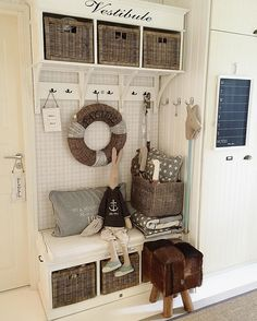 Great entry way/mud room idea!