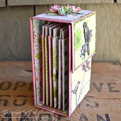 Mini Album Makers Challenge: Vertical Toilet Paper Roll Mini Album Tutorial by Deb Riddell Mini Album Scrapbook, Scrapbook Journal, Scrapbook Paper, Mini Albums Photo, Mini Albums Scrap, Album Maker, Chicken Scratch Embroidery, Mini Books, Flip Books