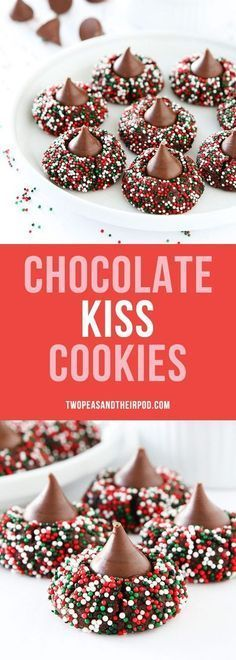 Chocolate Kiss Cookies are the perfect Christmas cookie! Rich chocolate cookies with a Hershey's kiss in the center and decorated with festive sprinkles! These are always a cookie swap favorite! #cookies #Christmascookies #Christmas #holidays #chocolate #baking #sprinkles