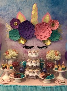 Unicorn theme birthday party. To see more click on the link.