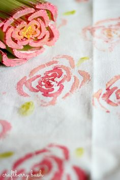 Decorate your tablecloths, napkins, clothing, and other fabrics with rose art made from celery!