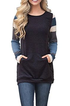 AlvaQ Winter Women Casual Sweatshirt With Sleeve Juniors Pocktes Tunics Long  Blouses Pullovers Plus Size XL Black -- Learn more by visiting the image  link. 39495b3ae