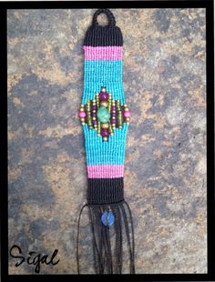 Micro macrame bracelet Czech beads and turquoise stone.