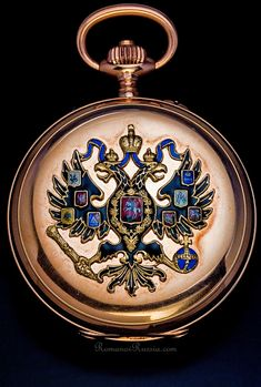 A gold and enamel Russian imperial presentation watch by Paul Buhre/Pavel Bure, c.1916, adorned with the Russian imperial double-headed eagle. (romanovrussia.com)